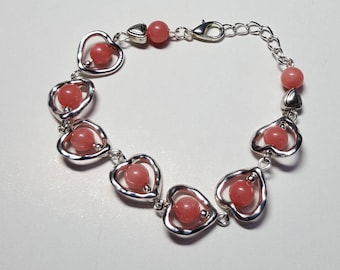 Bracelet hearts and salmon pink jade beads