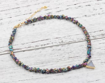 Iron Japser Beaded Choker Necklace With Small Druzy Charm For Bridesmaids Jewelry Party Gift Natural Gemstone Necklaces