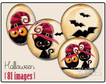 Halloween Printable Images Digital Collage Sheet for Jewelry Making - Digital collage sheets