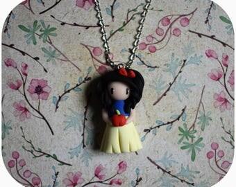 "Snow White Princess necklace ""black hair, blue/yellow dress"" (Princess collection) (2)"