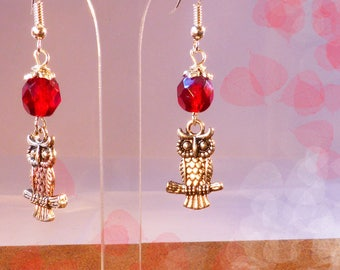Silver - dark red OWL earrings