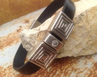Silver rhinestone black leather bracelet