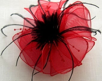 Red organza flower brooch, feathers and beads
