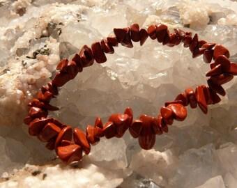 Red Jasper chips bracelet on elastic thread