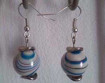 Earrings made of synthetic iridescent turquoise and white