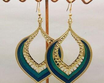 lovely enamel earrings blue glitter