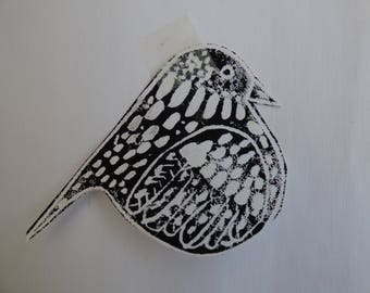 lino cut Starling