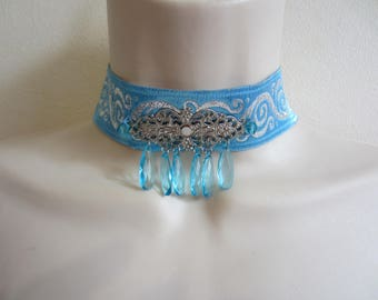 Blue and silver Choker necklace