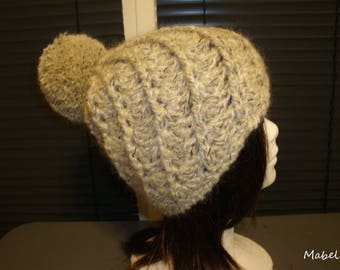 Beige mohair with large Pompom, crochet Hat handmade, French wool