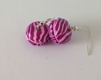 "Earrings polymer clay ""Purple and pink macaroons"""