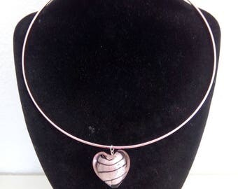 Pink aluminum necklace