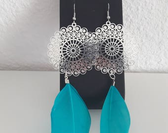 Roses and turquoise feather earrings