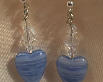 Sterling silver glass heart and Swarovski crystal earrings