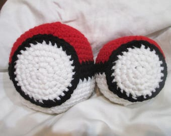 Crocheted Pokeball soft dog ball