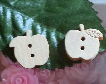 Wooden buttons, 2 - Hole, Apple, LightKhaki, 15x15x3mm, hole: 1.5 mm