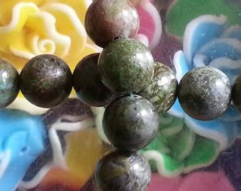 10 pearls of Jasper 8mm diameter, hole 1 dinosaur mm