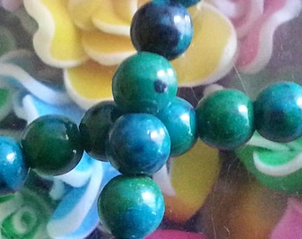 10 pearls chrysocolla green 6 mm diameter, hole 1 mm