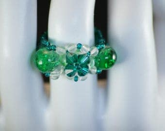 Green and clear swarovski crystal ring