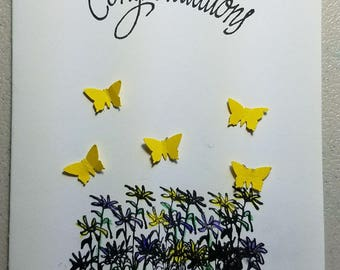 White & Blue w/ Yellow Butterfly's and Flowers Handmade Congratulations Card