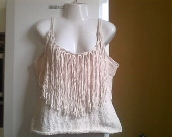 Pip with fringes XXL ecru t. 42/44 Hand-knitted