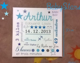 Star hanging with baby name art canvas