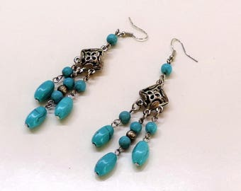 Chandelier 3 D and 3 turquoise beaded chandelier earrings