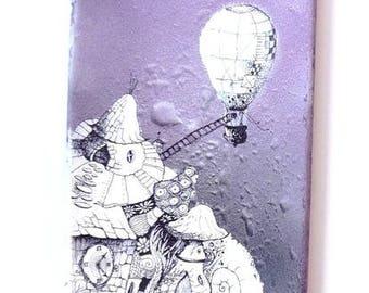Painting on skateboard - hot air balloon and futuristic violet (Purple hot air balloon)-purple, black...