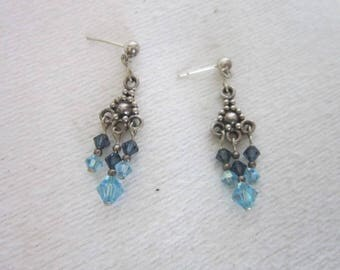 Vintage Sterling Silver & Aquamarine Crystal Chandelier Pierced Earrings Beautiful