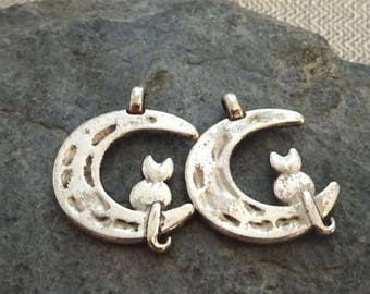 "2 ""Moon cat"" charms in antique silver."