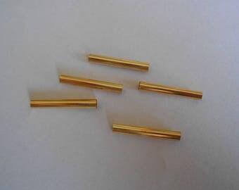 1 set of 5 connectors in golden metal tubes