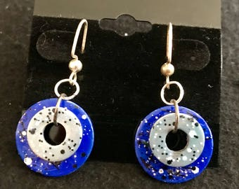 Hand painted washer earrings