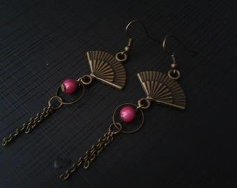 Earrings bronze range, fuchsia Pearl