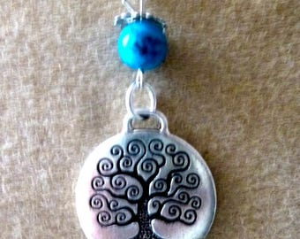 tree of life reconstituted turquoise pendant