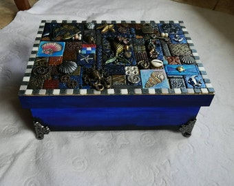 polymer clay mixed media mosaic box