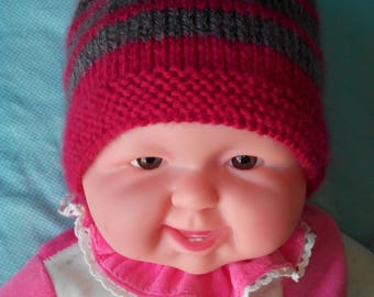 Pink cyclamen striped grey hand knitted Hat