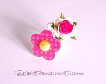 Ring flower, ring, white and fuchsia