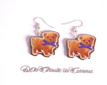 Earrings bronze kawaii dog
