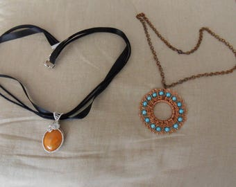 COPPER WIRE AND ALUMINUM WITH BEADS PENDANT