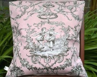 Cherubs pink/gray cotton/linen Cushion cover 40 x 40
