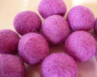 wool bead, Pearl of wool, felted wool, purple bead, 2 0mm