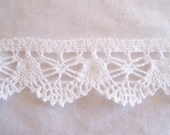 Lace for decoration, white, width 30 mm