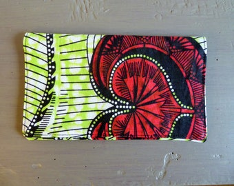 Red and green African fabric checkbook cover