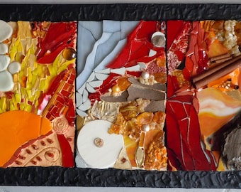 """Contemporary painting """"Triptych"""" olfactory mosaic and glass orange and Red"""