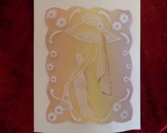 carte de félicitations en pergamano motif femme