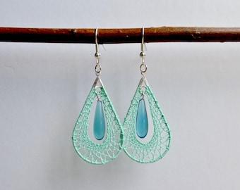 Drop earrings, green, aqua, bobbin lace
