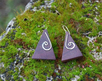 wood amaranth and Silver earrings Sterling