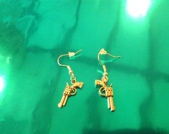 Earrings pistol gun rock punk goth lolita