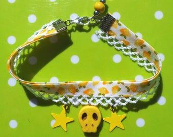 """Bracelet """"Lemon Skull"""" - liberty lemons, skulls and stars"""