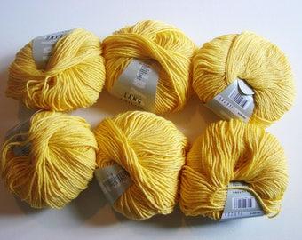 Omega Lang Yarns - bright yellow set of six skeins
