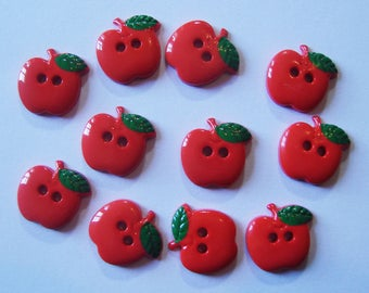 Red apples - set of 11 buttons - French buttons